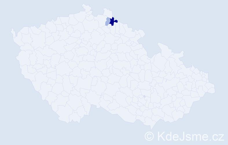 Příjmení: 'Kapčiar', počet výskytů 7 v celé ČR