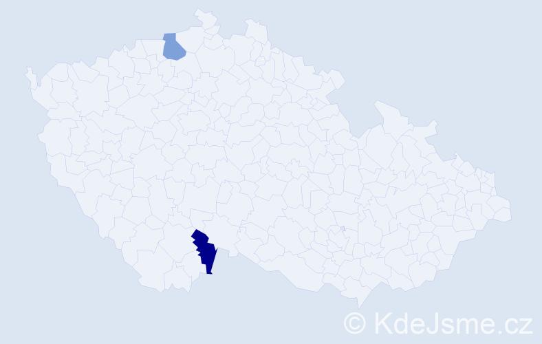 Příjmení: 'Inderholz', počet výskytů 4 v celé ČR