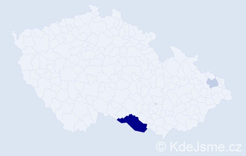 Příjmení: 'Černai', počet výskytů 5 v celé ČR