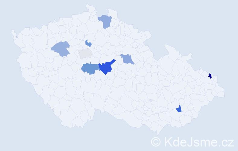 Příjmení: 'Kýbl', počet výskytů 18 v celé ČR