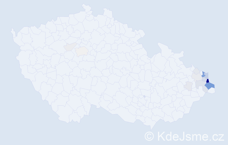 Příjmení: 'Branny', počet výskytů 70 v celé ČR