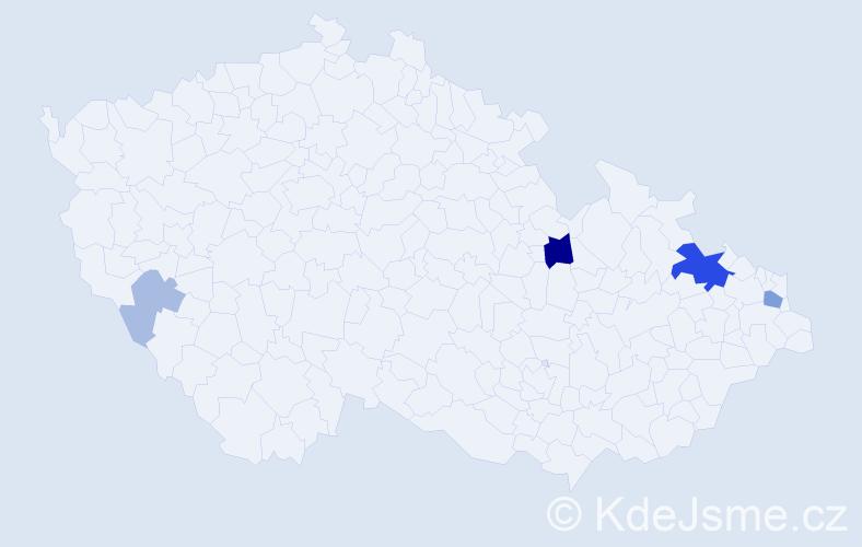 Příjmení: 'Čajnák', počet výskytů 14 v celé ČR