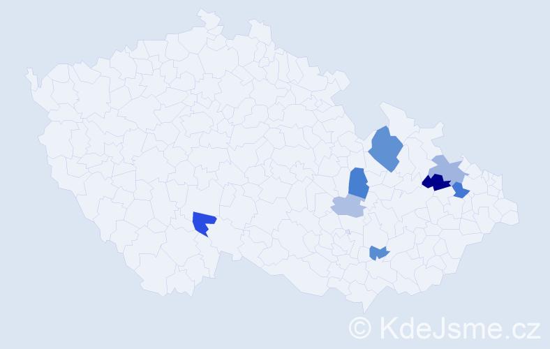 Příjmení: 'Kedroutková', počet výskytů 16 v celé ČR