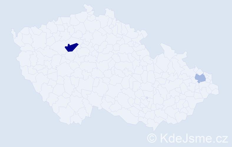 Příjmení: 'Glőcklová', počet výskytů 4 v celé ČR
