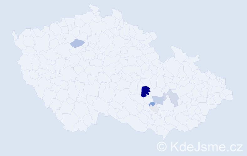 Příjmení: 'Jandelková', počet výskytů 9 v celé ČR