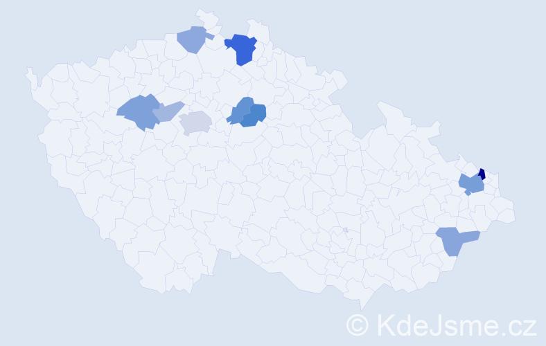 Příjmení: 'Ďurík', počet výskytů 19 v celé ČR