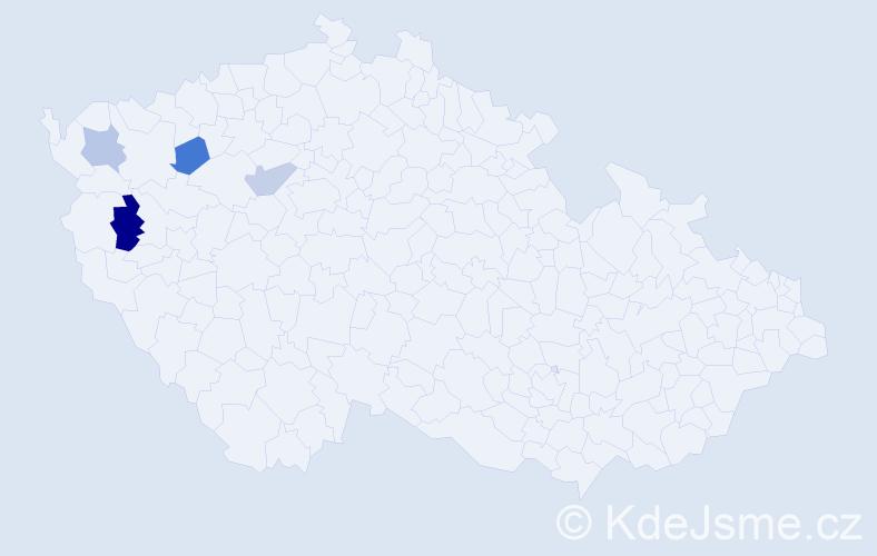 Příjmení: 'Čirčová', počet výskytů 5 v celé ČR