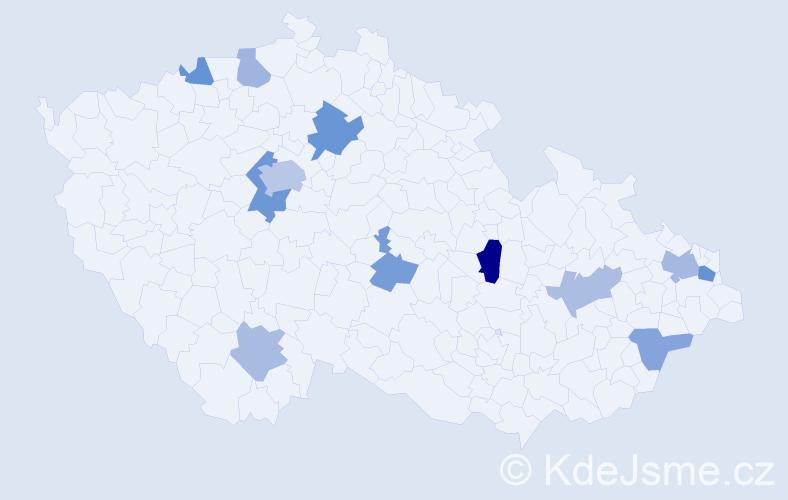 Příjmení: 'Daová', počet výskytů 21 v celé ČR