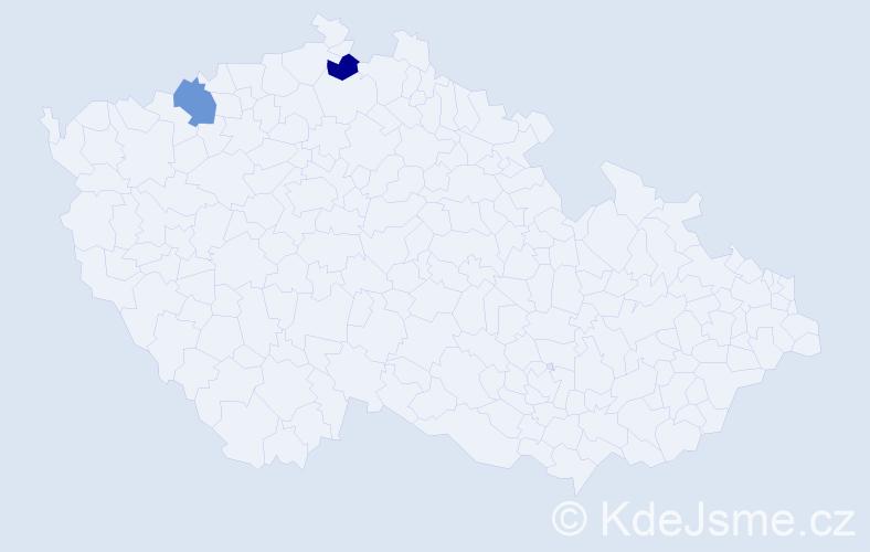 Příjmení: 'Blossová', počet výskytů 2 v celé ČR