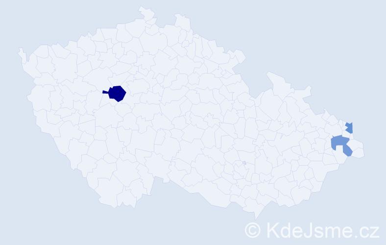 Příjmení: 'Chrobaková', počet výskytů 4 v celé ČR