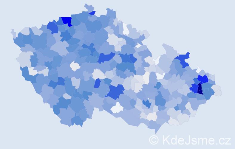 Příjmení: 'Holub', počet výskytů 6439 v celé ČR