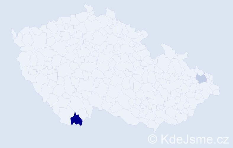 Příjmení: 'Léder', počet výskytů 2 v celé ČR