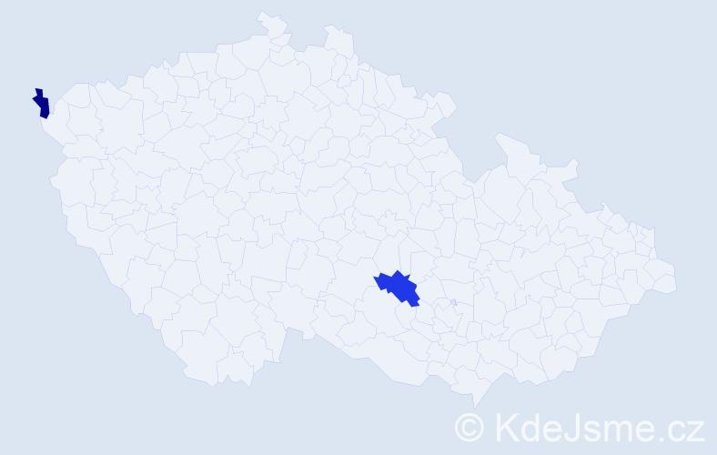 Příjmení: 'Ivančik', počet výskytů 7 v celé ČR