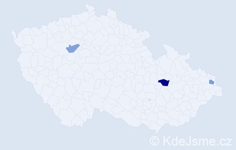 Příjmení: 'Frantiková', počet výskytů 3 v celé ČR
