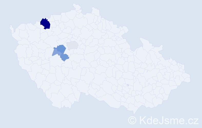 Příjmení: 'Ješetická', počet výskytů 19 v celé ČR