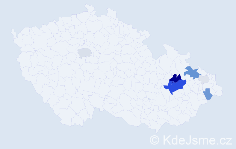 Příjmení: 'Drešlová', počet výskytů 22 v celé ČR