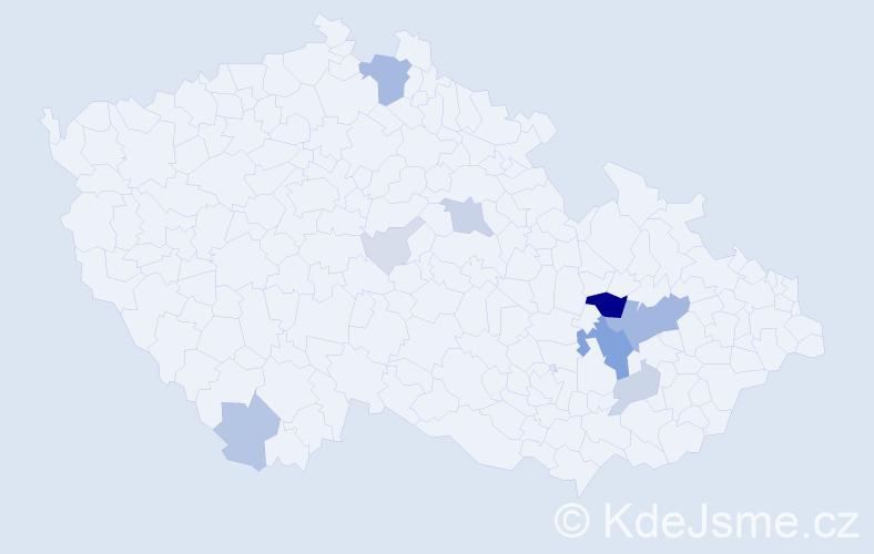 Příjmení: 'Knajbl', počet výskytů 38 v celé ČR
