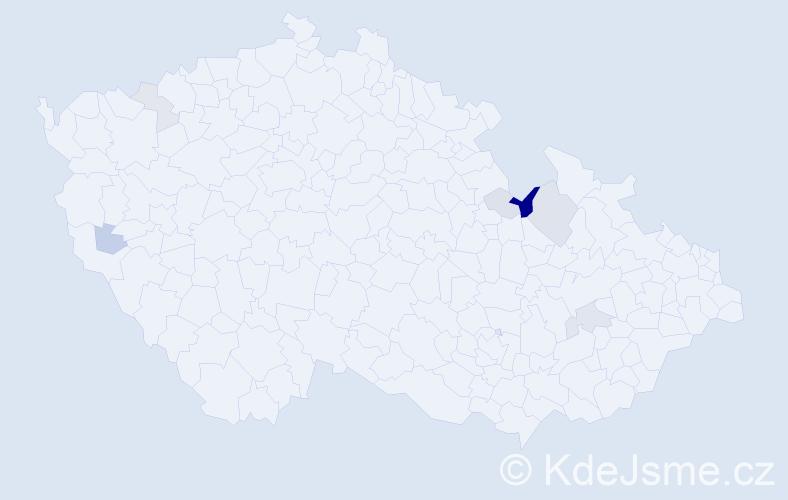 Příjmení: 'Csókásová', počet výskytů 14 v celé ČR