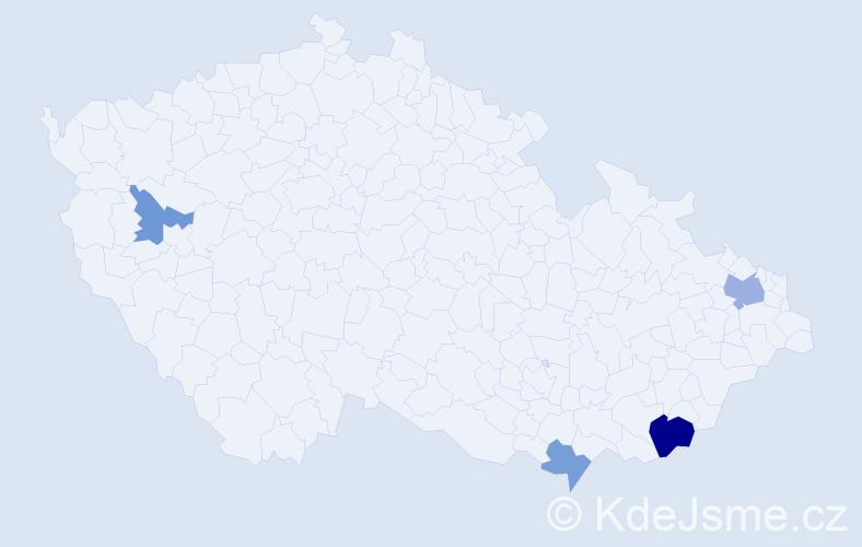 Příjmení: 'Katucká', počet výskytů 7 v celé ČR