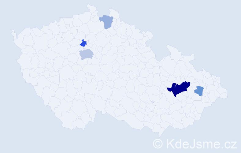 Příjmení: 'Hánek', počet výskytů 13 v celé ČR