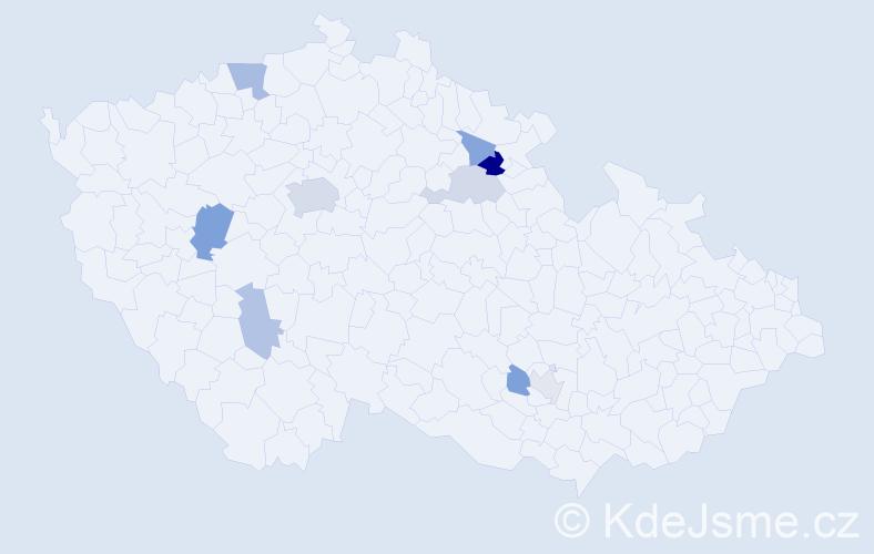 Příjmení: 'Fähnrich', počet výskytů 18 v celé ČR