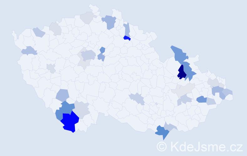 Příjmení: 'Benčová', počet výskytů 97 v celé ČR