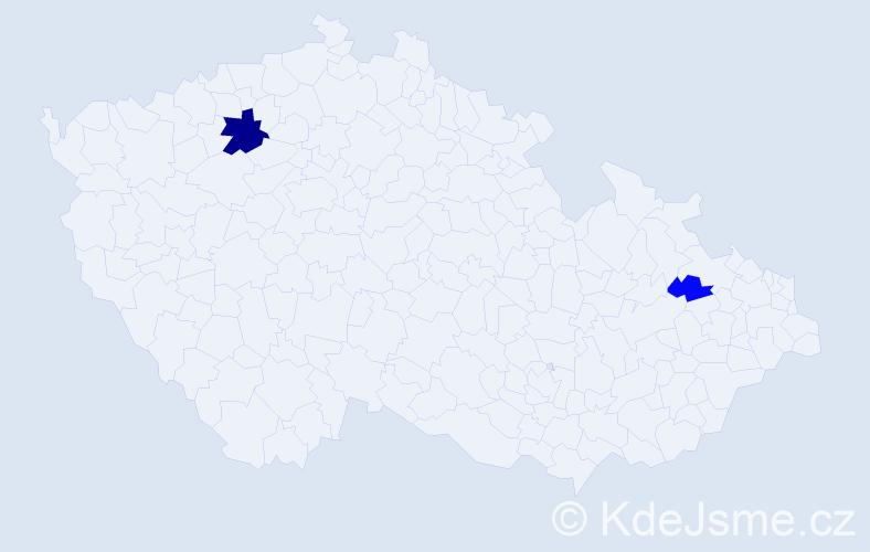 Příjmení: 'Immrová', počet výskytů 5 v celé ČR