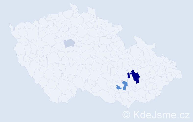 Příjmení: 'Grudlová', počet výskytů 6 v celé ČR