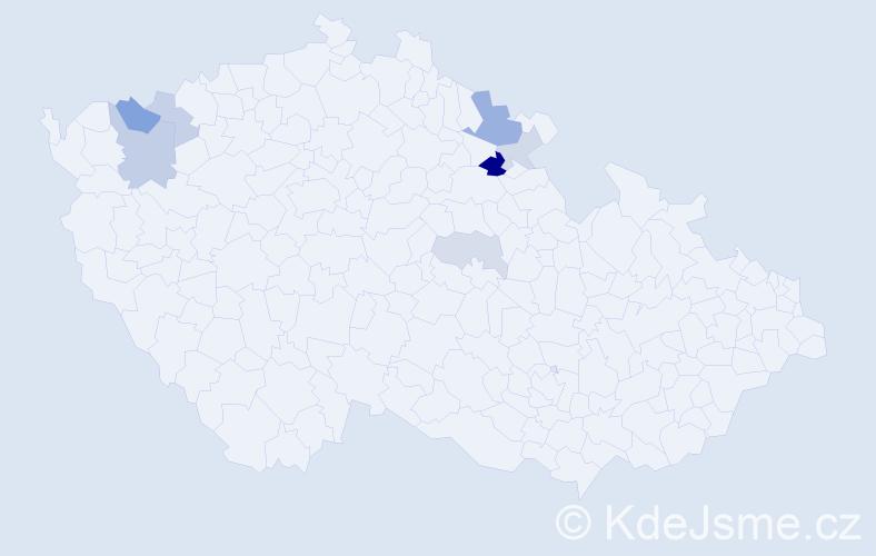 Příjmení: 'Dyrcová', počet výskytů 15 v celé ČR