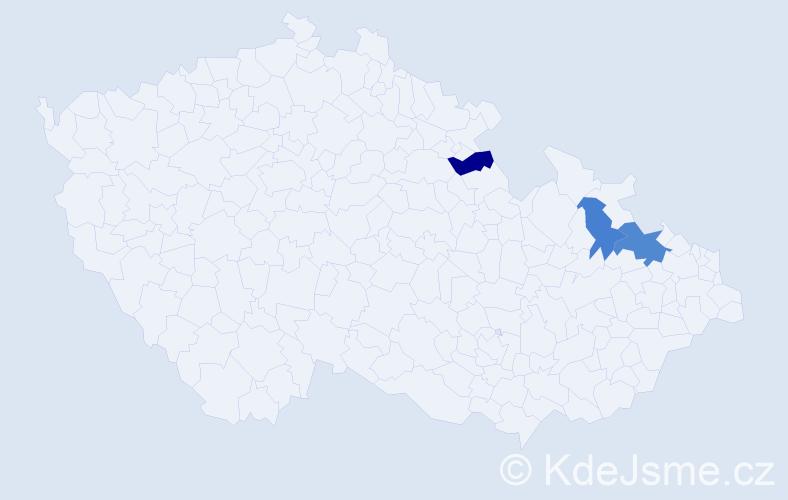 Příjmení: 'Daránska', počet výskytů 4 v celé ČR