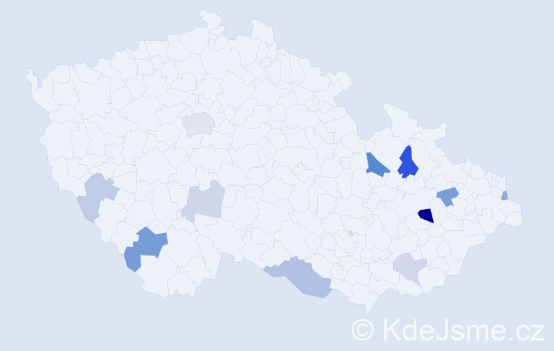Příjmení: 'Ištóková', počet výskytů 21 v celé ČR