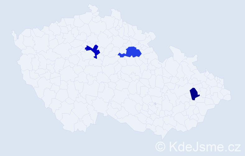 """Příjmení: '""""De Larosa""""', počet výskytů 5 v celé ČR"""