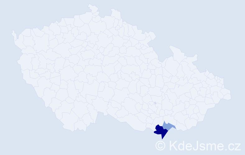 Příjmení: 'Janovíčková', počet výskytů 5 v celé ČR