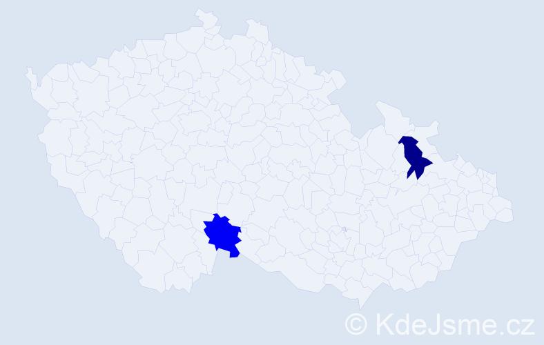 Příjmení: 'Hilkovičová', počet výskytů 2 v celé ČR