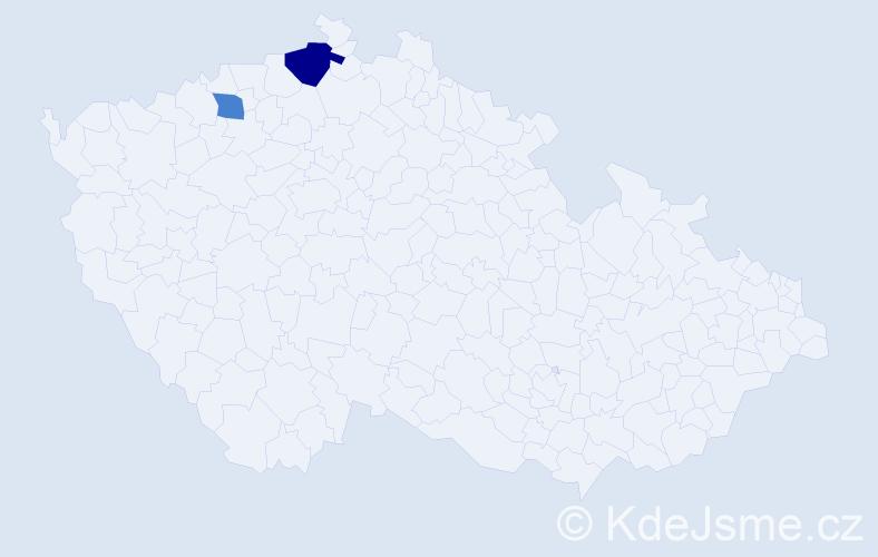 Příjmení: 'Arifi', počet výskytů 3 v celé ČR