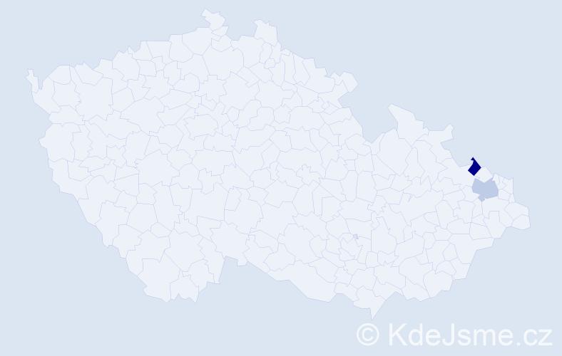 Příjmení: 'Jakubithová', počet výskytů 4 v celé ČR
