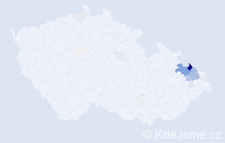 Příjmení: 'Grygarčíková', počet výskytů 60 v celé ČR