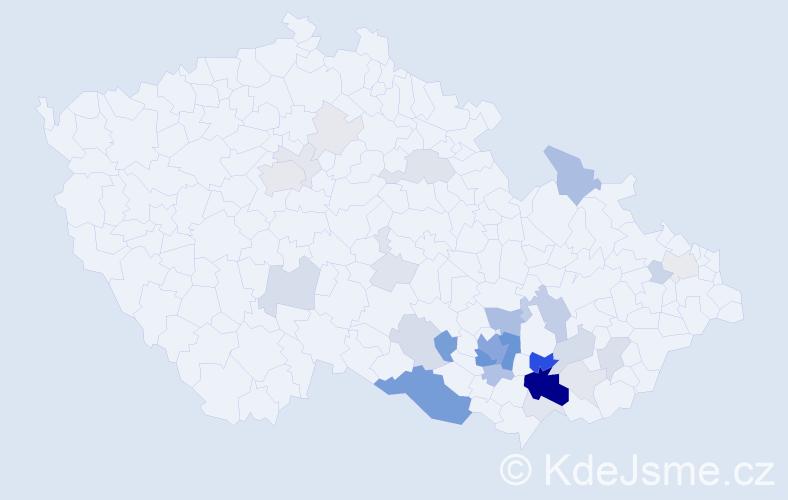 Příjmení: 'Jetelina', počet výskytů 122 v celé ČR