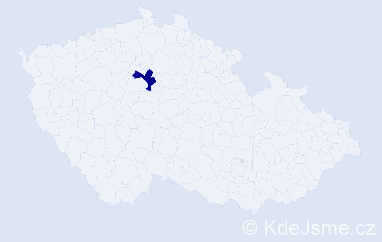 """Příjmení: '""""Lesáková Čechová""""', počet výskytů 1 v celé ČR"""