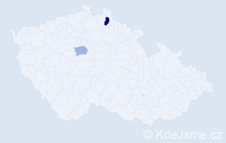Příjmení: 'Haninec', počet výskytů 3 v celé ČR