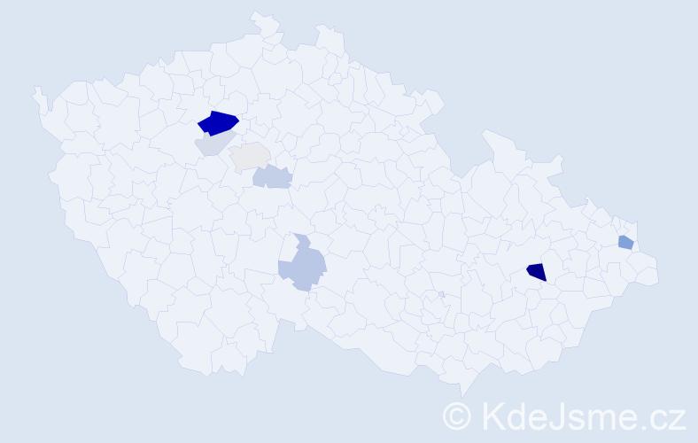 Příjmení: 'Ipri', počet výskytů 19 v celé ČR