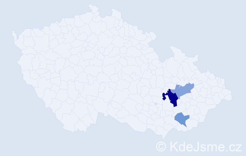 Příjmení: 'Ďurč', počet výskytů 5 v celé ČR