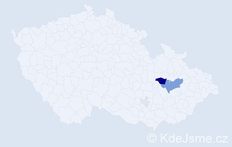 Příjmení: 'Haninová', počet výskytů 8 v celé ČR