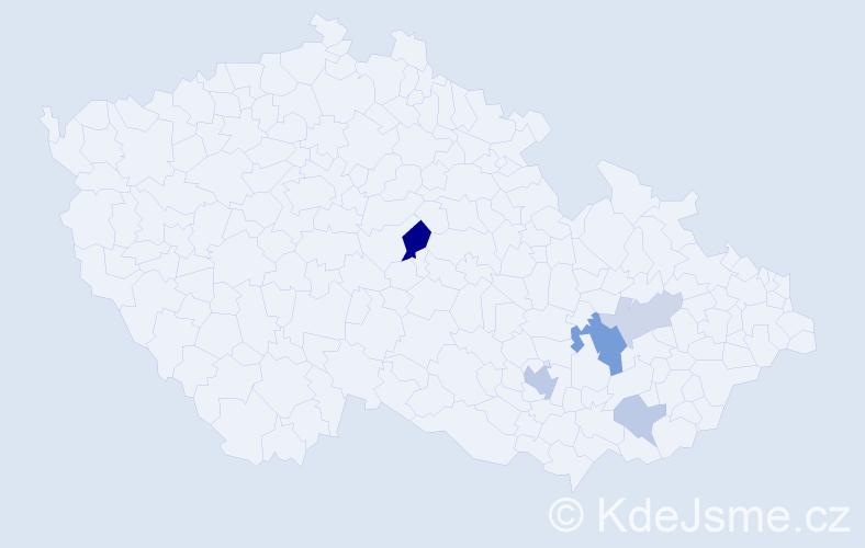 Příjmení: 'Hepnárková', počet výskytů 11 v celé ČR