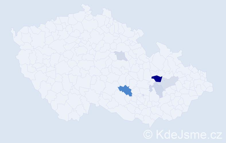 Příjmení: 'Hekal', počet výskytů 10 v celé ČR