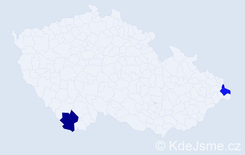 Příjmení: 'Bažanovská', počet výskytů 5 v celé ČR
