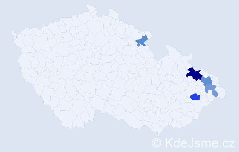 Příjmení: 'Jagusztynová', počet výskytů 9 v celé ČR