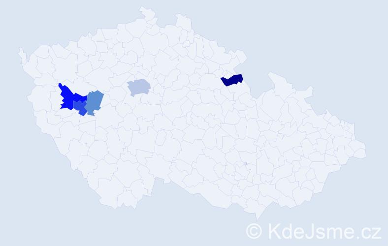 Příjmení: 'Častorálová', počet výskytů 12 v celé ČR