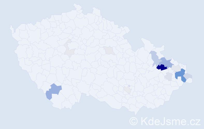 Příjmení: 'Juroš', počet výskytů 60 v celé ČR