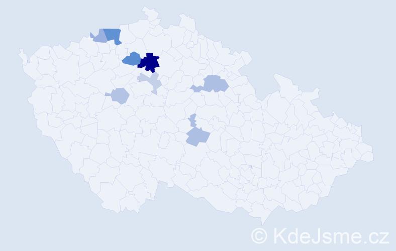Příjmení: 'Hosták', počet výskytů 19 v celé ČR
